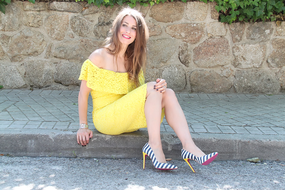 zara lolita blu stiletto marinero tacon amarillo